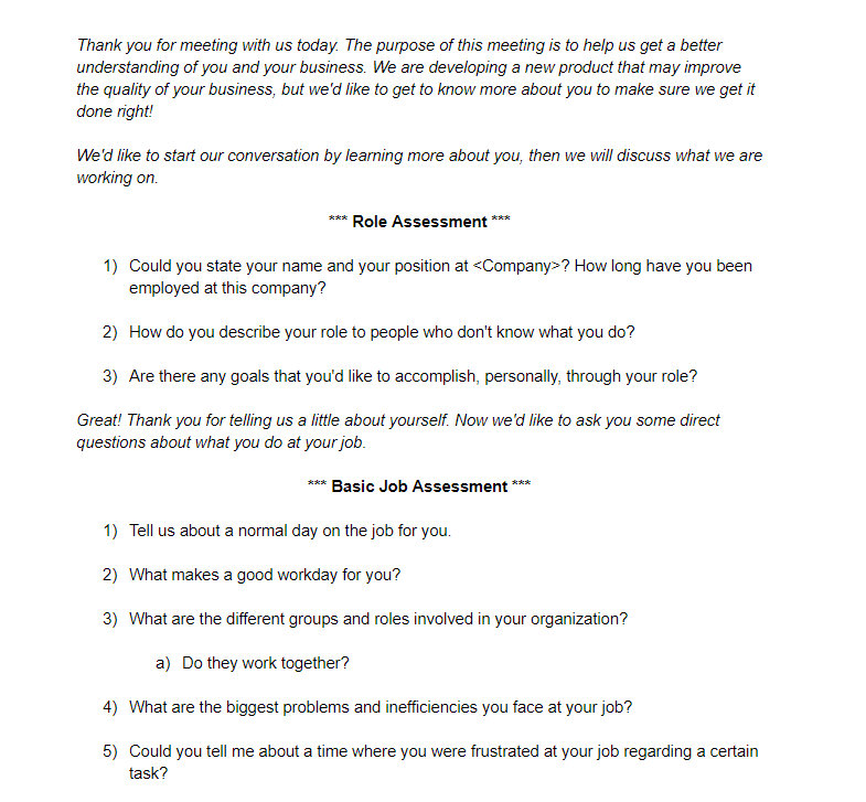 Questionnaire for the Greenhouse Project